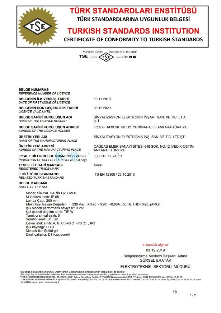 EN 12368 Certifica